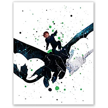 How to Train Your Dragon Night Fury Poster - Hiccup Toothless Wall Art Print - Birthday Party Decoration - Home Decor Picture (8x10)