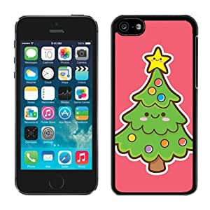 Featured Desin Smiled Face Green Christmas Tree Black Plastic Iphone 5c,Apple Iphone 5c Cover Case