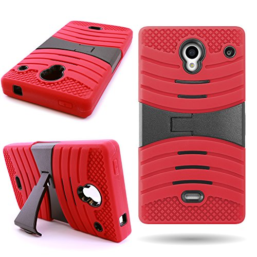Sharp Aquos Crystal Case (Red/Black) CoverON Heavy Duty Protective Hybrid Phone Cover for Sharp Aquos Crystal 306SH (Aquos Boost Sharp Mobile)