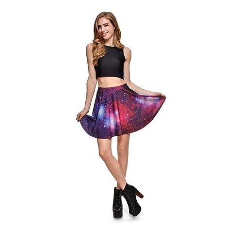 Mujer Talla Grande Minifalda de Galaxy Estampado Digital de Mujer ...