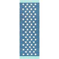2.5 x 8 Starry Sky Royal Blue, Ivory and Mint Green Hand Woven Area Throw Rug Runner