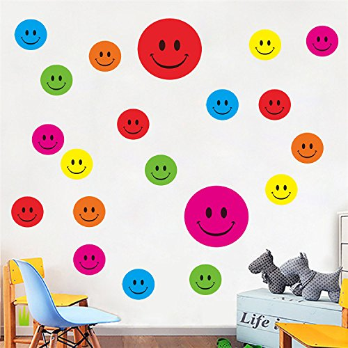 Ferris Store Colorful Smiles Face Polks Dots Easy Peel & Stick Removable Stickers Safe Stylish Decor for Any Room Wall 23.6x17.7
