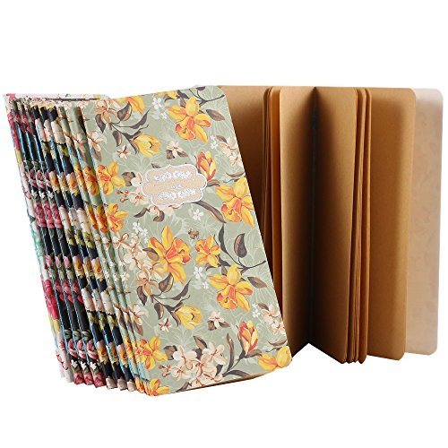 Ipienlee Small Diary Journal Four Color Floral Style Pocket Notebooks Kraft Paper Memo Note Pad, Pack of 12 (Floral Cover - Kraft Paper Inside Pages)