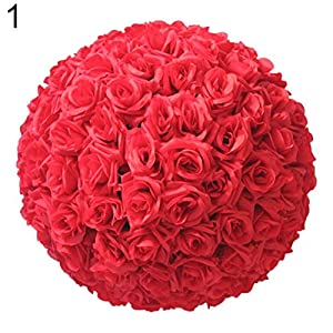 Jiecikou Artificial Flowers Blush Roses 8 Inch Realistic Fake Roses Kissing Ball for DIY Wedding Bouquets Centerpieces Arrangements Party Baby Shower Home Decorations Red 106