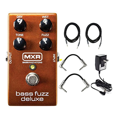 Dunlop M84 MXR Bass Fuzz Deluxe Effects Pedal With a Pair of Patch Cables, Power Supply, and Instrument Cables