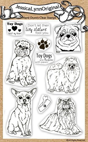 (JessicaLynnOriginal AKC Dogs : Toy Dog Clear Rubber Stamp Set ( Pug, Pomeranian, Chihuahua, Affenpinscher, and Yorkshire Terrier ))