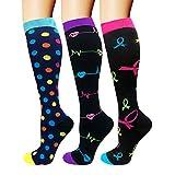 Compression Socks For Men & Women - 3/6 Pairs - Best for Running,Medical,Athletic Sports,Flight Travel, Pregnancy - 20-25mmHg (Multicoloured 8, S/M)