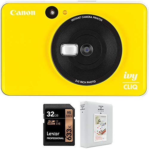 Canon Ivy CLIQ Instant Camera Printer Bumble Bee Yellow Bundle with Lexar Professional 633x 32GB SDHC UHS-1 Class 10 Memory Card and Deco Gear 2 x 3 inch 64 Page Photo Album White