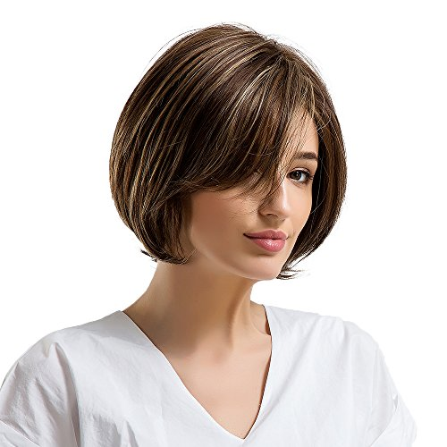 Emmor Short Brown Human Hair Wigs for Women Mixed Healthy Synthetic Memory Fiber Side Part Blend Wig With Highlight,Natural Hair Daily Use