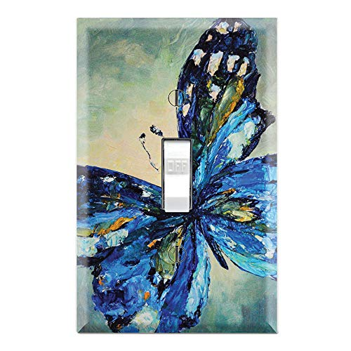 Graphics Wallplates - Blue Butterfly Painting - Single Toggle Wall Plate Cover ()