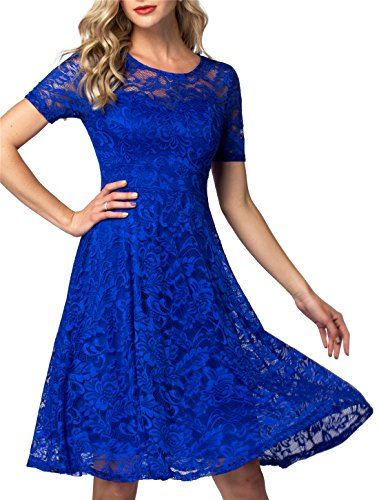 AONOUR AR8006 Women's Vintage Floral Lace Elegant Cocktail Formal Swing Dress with Short Sleeve RoyalBlue XS ()