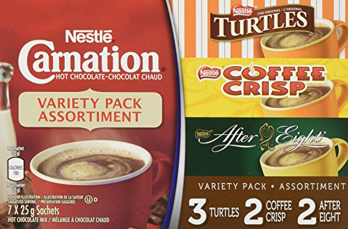 - Nestle Carnation Hot Chocolate Variety Pack- 7x25g Sachets, Turtles, Coffee Crisp, After Eight {Imported from Canada}