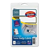 Wholesale CASE of 25 - Avery Flexible Self-adhesive Name Badge Labels-Name Badges, Mini, 1''x3-3/4'', 100/PK, Professional Assorted