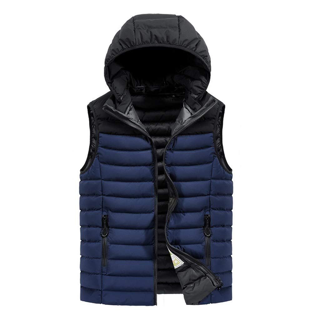 FEDULK Men's Zipper Vest Autumn Winter Warm Hoodied Thicken Waistcoat Jacket Tops Coat(Dark Blue, XX-Large) by FEDULK