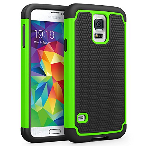 Galaxy S5 Case, SYONER [Shockproof] Hybrid Rubber Dual Layer Armor Defender Protective Case Cover for Samsung Galaxy S5 S V I9600 [Green/Black]