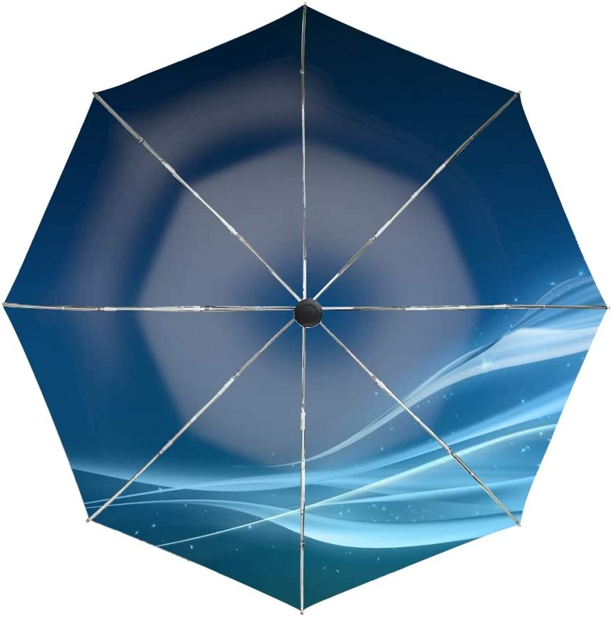 Automatic Compact Travel Umbrella Teflon Auto Open Close Folding Strong Windproof Abstract Lines Blue Bright Umbrella
