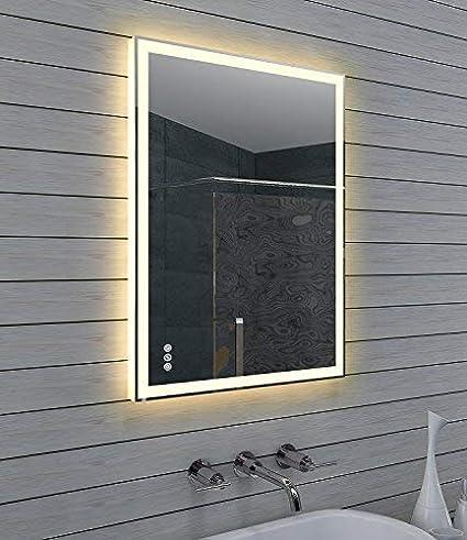 Lux-aqua Diseño Cuarto de baño Espejo con regulador de Intensidad ...