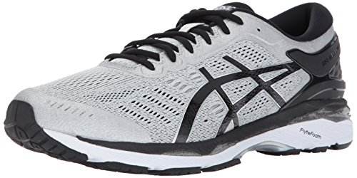 ASICS Mens Gel-Kayano 24 Running Shoe, Silver/Black/Mid Grey, 10.5 4E US