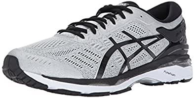ASICS Men's Gel-Kayano 24 Running Shoe, Silver/Black/Mid Grey,