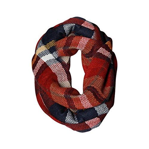 All American Plaid Tartan Infinity Scarf Funky Monkey Fashion Warm Cozy Scarves (Monkey Striped Red)
