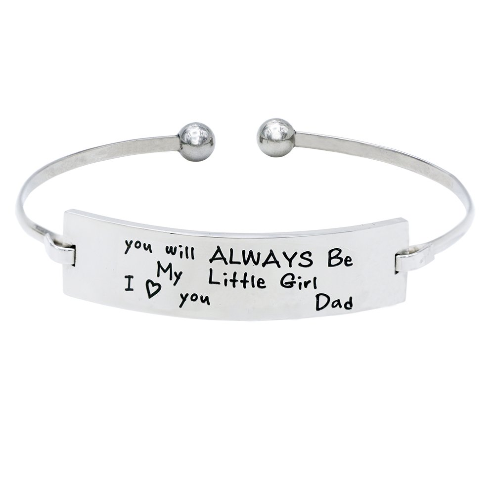 Melix Home Stainless Steel Youll Always Be My Little Girl Bangle Bracelet