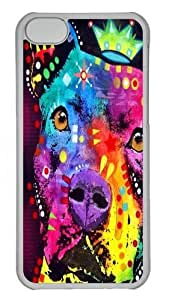 iPhone 5C Case,the thoughtful pitbull crowned Custom PC Hard Case Cover for iPhone 5C Transparent