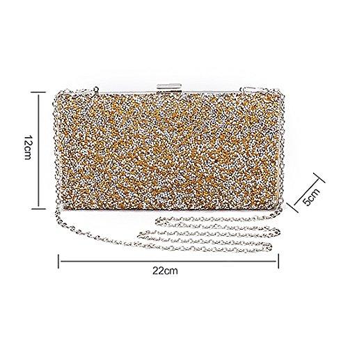 pour YYW Glitter Pochette Clutch Bag silver femme AA7pnORx