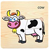 Wenini Puzzles Toys - Wooden Children's Animals Puzzles Toys - 19 Kinds of Animals Educational and Learning Puzzle Toys for 3-7 Years Old Kids (Cow)