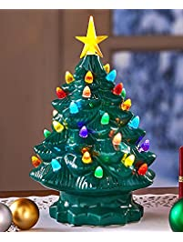 retro lighted tabletop christmas trees green large - Sales On Christmas Trees