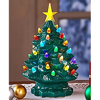 retro lighted tabletop christmas trees green large - Large Christmas Tree