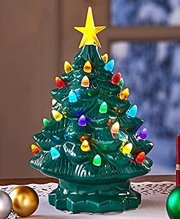 retro lighted tabletop christmas trees green large - Amazon Christmas Trees