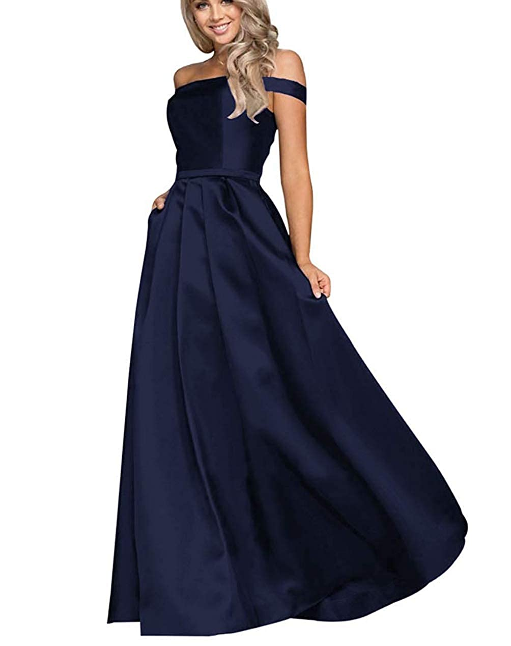 Navy bluee Tmaoomo Aline Off The Shoulder Satin Prom Party Dresses for Women Formal Evening Gowns