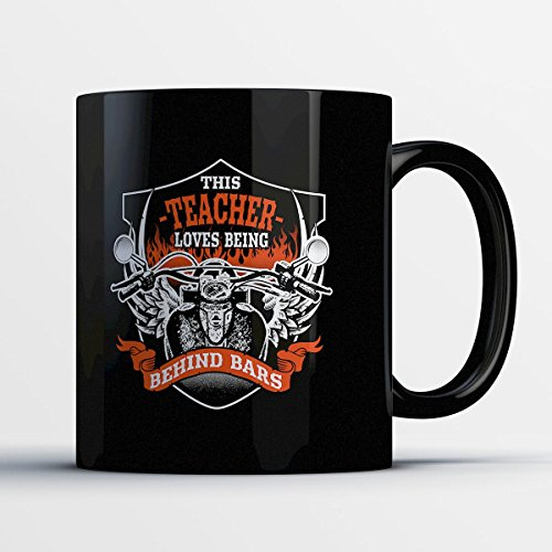 Teacher Coffee Mug - Teacher Behind Bars - Adorable 11 oz Black Ceramic Tea Cup - Cute Teacher Gifts with Teacher (Half Good Half Bad Angel Costume)