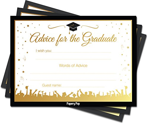 College Graduation Party Invitations - 2018 Graduation Advice Cards for the Graduate (30 Count) - High School or College Graduation Party Games Activities Invitations Decorations Supplies