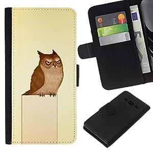 All Phone Most Case / Oferta Especial Cáscara Funda de cuero Monedero Cubierta de proteccion Caso / Wallet Case for Samsung Galaxy A3 // Owl Grumpy Bird Art Drawing Fairytale