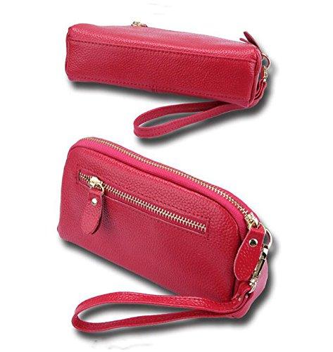 DcSpring Clutch Piel Genuino Carteras de Mano Cartera Elegante Cremallera para Mujer Rosa