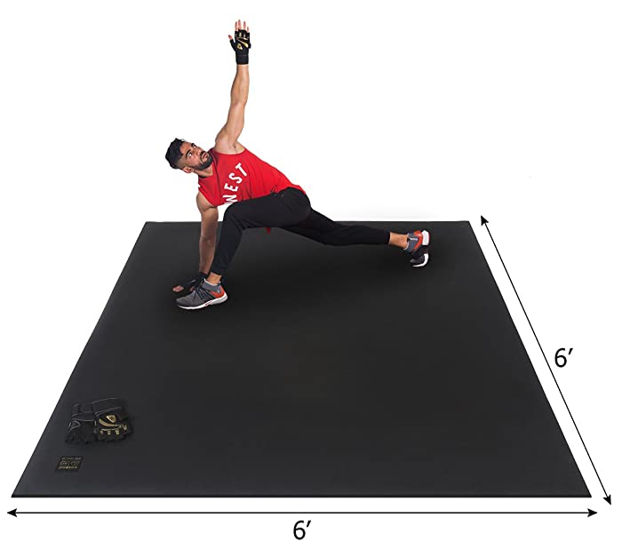 "Gxmmat Large Exercise Mat 6'x6'x7mm Ultra Durable, Non-Slip, Workout Mats for Home Gym Flooring - Plyo, MMA, Jump, Cardio Mat - (72"" Long x 72"" Wide)"