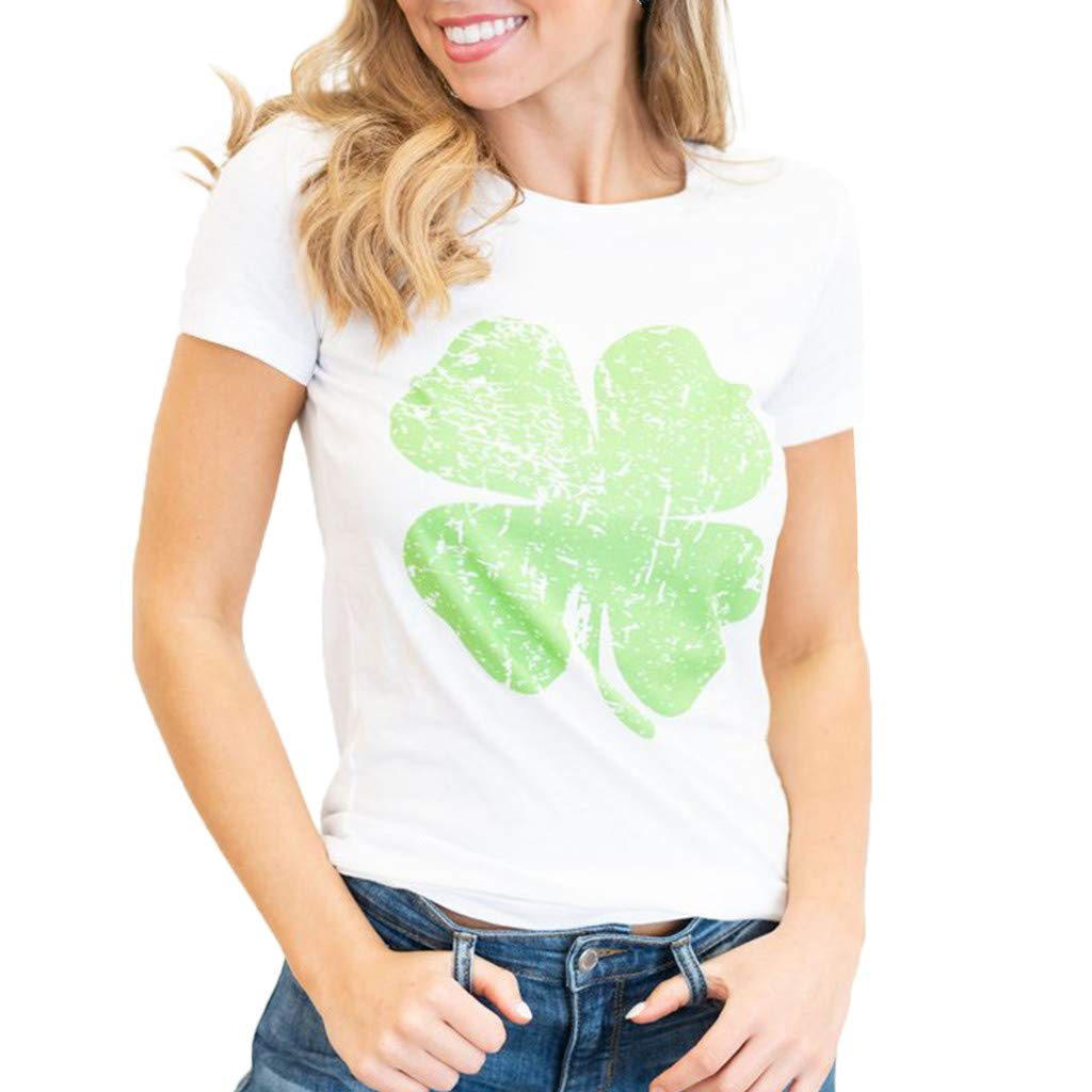Nihewoo Printed Green Blouse Irish Distressed Shamrock T-Shirt St Patricks Day Womans Ireland Pride Tee Shirt