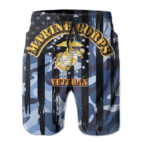 You Know And Good USMC Marine Corps Veteran W EGA Men's Swim Trunks Bathing Suit Beach Shorts White