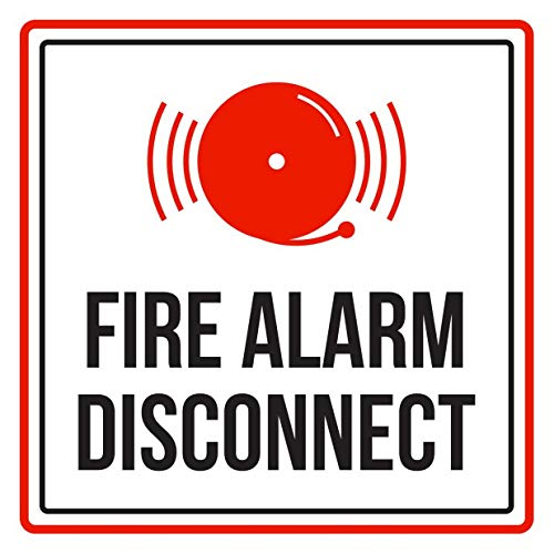 Weytff 12x12 Inch Tin Sign-Fire Alarm Disconnect Red, Black and White Business Commercial Safety Warning Square Metal Sign