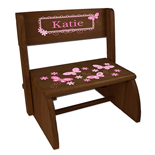 - Personalized Espresso Flip and Folding Step Stool with Pink Butterflies Design