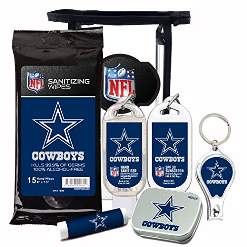 NFL 6-Piece Fan Kits with Decorative Mint Tin, Nail Clippers, Hand Sanitizer, SPF 15 Lip Balm, SPF 30 Sunscreen, Sanitizer Wipes. Dallas Cowboys Gifts for Men and Women]()