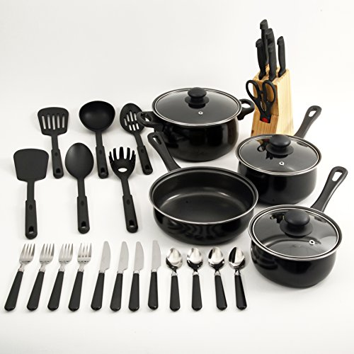 Chefs du jour 32 piece kitchen combo set black 11street for Kitchen set combo offer