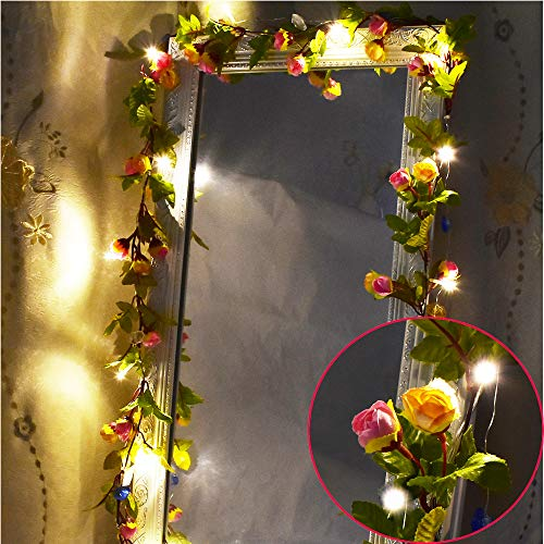 MeeDoo 20LED 7.2ft Artificial Flower Rose Vine String Lights, Battery Powered Rose Flower Garland Plant Fairy Light for Valentine's, Wedding Bedroom Party Garden Indoor Decoration Craft Art Decor (For Lights Bedroom Flower String)