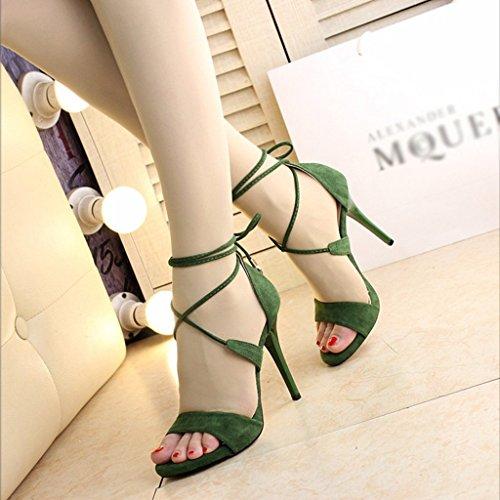 Zapatos de Mujer Sandalias de Tacón Alto Tacones Finos Bellas Cruces Taiwán  Discotecas Sandalias 10 cm Gamuza (Color   Green 3a394eecfa29