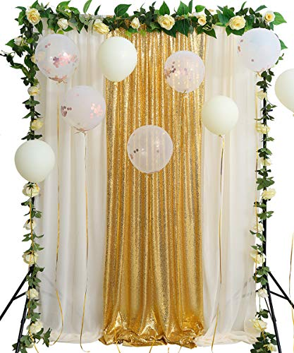 Gold Sequin Backdrop Photography 8.8ftx8ft Sparkly Backdrop Wedding Curtain Ivory Chiffon Drape Party Stage Decoration -