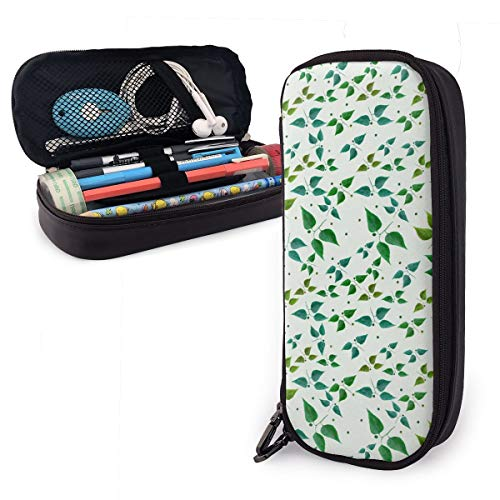 Floral Butterflies Theme Cute Pen Pencil Case Leather 8 X 3.5 X 1.5 Inch Big Capacity Double Zippers Pencil Pouch Bag Pen Holder Box for School Office Girls Boys Adults