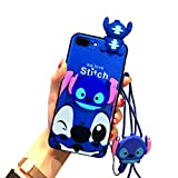 iPhone 8/7 Plus Case,Blue 3D Love Stitch Case, Cute Silicone Cartoon Kawaii Animal Character Protective Cover for Kids Girls Compatible with Apple iPhone 8/7 Plus 5.5' with Holder Lanyard Doll