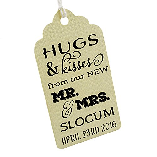 Summer-Ray 50pcs Personalized Mini Royale Cream Wedding Favor Gift Tags Hugs & Kisses from our New Mr. & Mrs by Summer-Ray.com