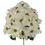 Admired-By-Nature-GPB0707-RDWT-Faux-Velvet-Poinsettia-Carnation-Berry-Xmas-Bush-RDWT